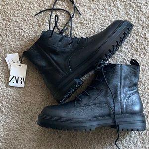 Brand New Black Leather Zara Boots